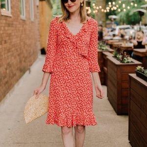 Boden Red Floral Ruffle V Neck Fluted Dress